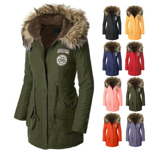 Womens Faux Fur Trim Hood Long Winter Parka Coat