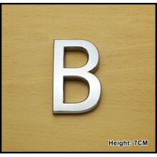Self Adhesive 3D Chrome Letters Silver House Door Car 7cm CURVED - B
