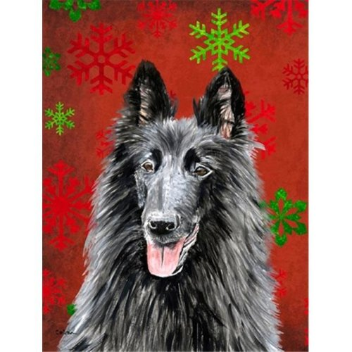 11 x 15 In. Belgian Sheepdog Red And Green Snowflakes Holiday Christmas Flag, Garden Size