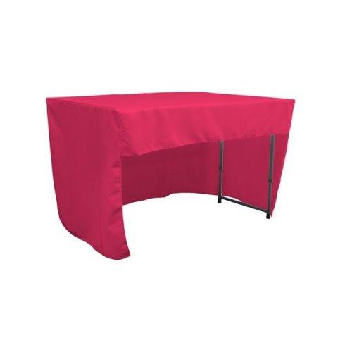 LA Linen TCpop-OB-fit-48x24x30-FuchsiaP49 1.42 lbs Open Back Polyester Poplin Fitted Tablecloth, Fuchsia
