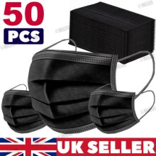Disposable Face Mask 3 PLY Disposable Face Mask (50Pcs) Ships from UK (Black)