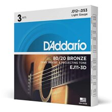 D'Addario EJ11-3D 80/20 12-53 Bronze Light Acoustic Guitar Strings
