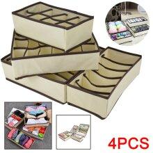 4x Foldable Underwear Storage Organiser Bra Socks Organizer Box Drawe