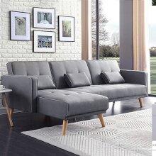 Grey Modern L-Shape Fabric Recliner Sofa Bed