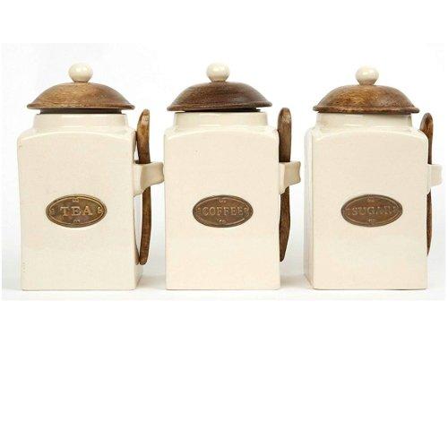 County Kitchen Set of Cream Ceramic Tea, Coffee and Sugar Jars