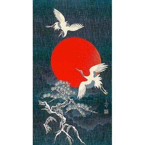Noren Japanese Cranes and Bonsai Tree Cotton Quilting Panel - 50cm x 110cm