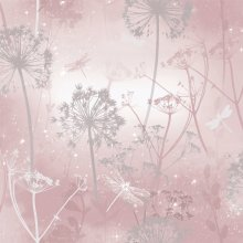 Arthouse Damselfly Glitter Dandelions Botanical Ombre Motif Textured Wallpaper 692305