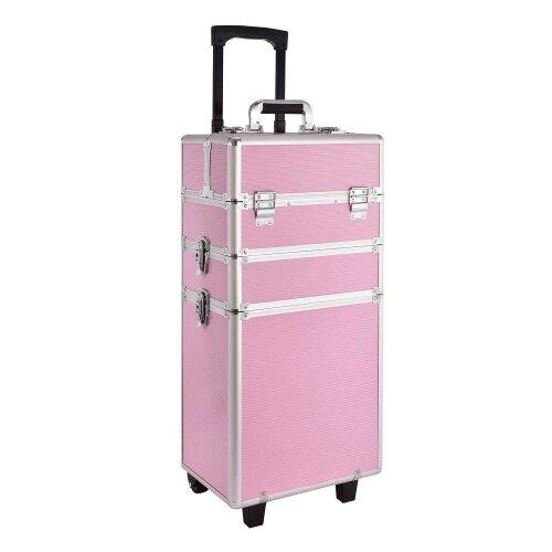 Oypla Pink Aluminium Cosmetic Makeup Vanity Beauty Glamour Organiser Trolley Case