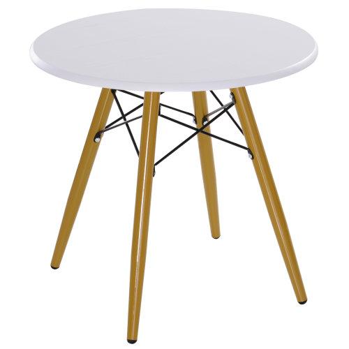 HOMCOM Modern Round Coffee Tea Table White Storage Retro ...
