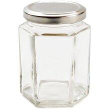 Nutley's 24 Hexagonal 8oz Jam Jars + silver lids + jam box + free retro labels H1
