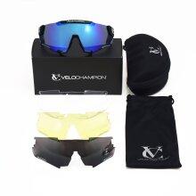 VeloChampion Pro Cyclone UV400 Cycling Sunglasses - 4 Lenses + Case