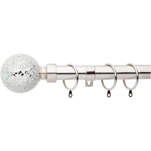 A.Unique Home Crackle Ball Metal Extendable Curtain Pole with Rings and Fittings, In a Variety of Colours and Sizes (25/28mm)
