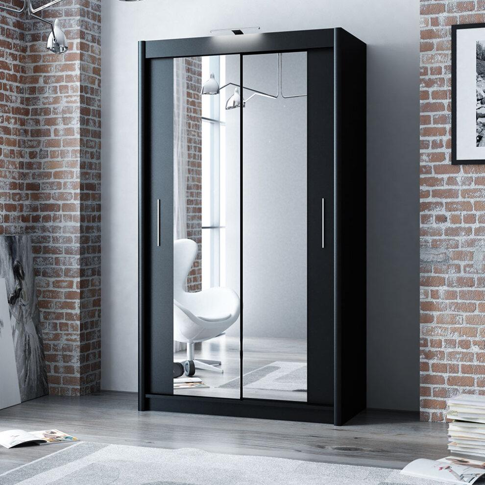 (2 door 120 cm width) Modern black sliding door wardrobe ...