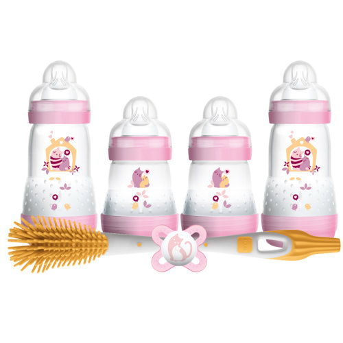 MAM Newborn Feeding Set - Purple | Self-Sterilising Baby Bottles Set