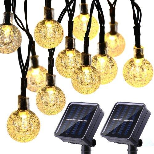 2 Pack 4 Meters Solar 20 LED Ball String Light-Warm White