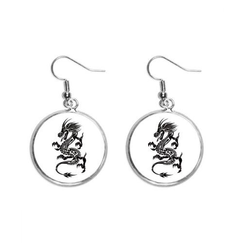 Dragon Animal Art Grain Silhouette Ear Dangle Silver Drop Earring Jewelry Woman