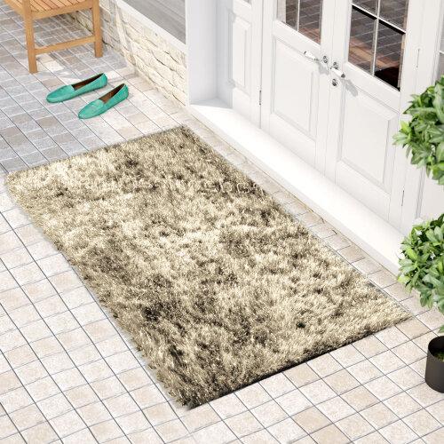 """(60 x 110 cm-(2'x3'7""""), Natty Coffee) Non Slip Shaggy Thick Pile Glitter Door Floor Mat Indoor Outdoor"""