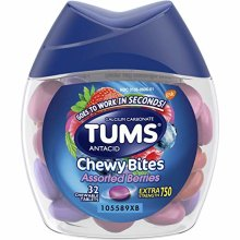 TUMS Chewy Bites Antacid Tablets Extra Strength 750mg Assorted Fruit 32 ct