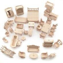 34Pcs Set Vintage Wooden Furniture Dolls House Miniature Toys Kids