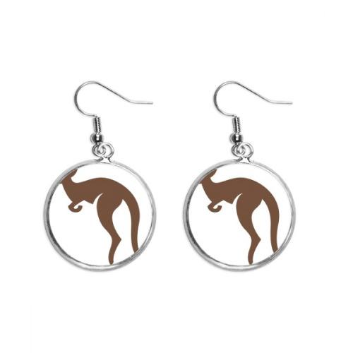 Australia Flavor Kangaroo Brown Silhouette Ear Dangle Silver Drop Earring Jewelry Woman