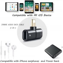 2 in1 Lightning Adapter Charging Splitter Audio Cable For iPhone