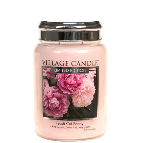 Village Candle 26oz Scented American Large Jar Candle with Double Wick Fresh Cut Peony