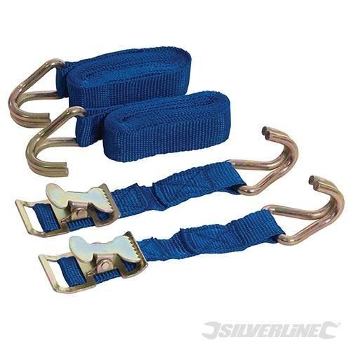 Easy Silverline Set 449215 2pce Tie Down 2m x 25mm 2pk Easy Lock Straps