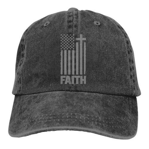 Distressed Grey USA Flag Denim Baseball Caps