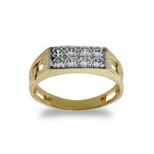 Jewelco London Kids Solid 9ct Yellow Gold White Round Brilliant Cubic Zirconia Curb Link Signet Baby Ring