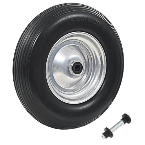 vidaXL Wheelbarrow Wheel with Axle Solid PU 4.00-8 390mm Trolley Dolly Tyre