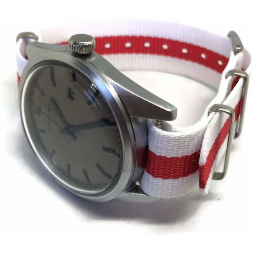 (18mm) NATO Zulu G10 Watch Strap Red and White England Flag Stainless Steel Buckle