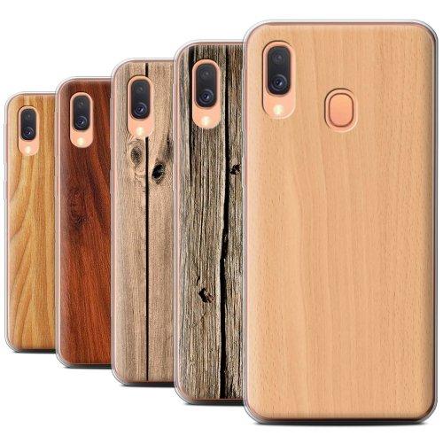 Wood Grain Effect/Pattern Samsung Galaxy A40 2019 Phone Case Transparent Clear Ultra Soft Flexi Silicone Gel/TPU Bumper Cover