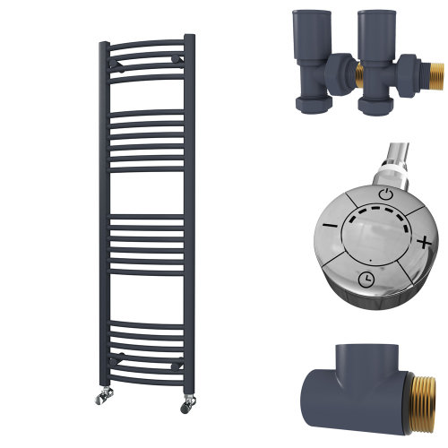 HB Essentials Zeno Anthracite Curved Ladder Heated Towel Rail 1400mm x 400mm Dual Fuel - Thermostatic