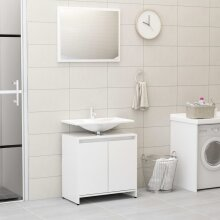 vidaXL Bathroom Furniture Set High Gloss White Chipboard Washroom Storage Unit