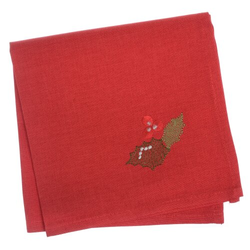 """Pack Of 4 Square Fabric Table Napkins Material Serviette For Christmas 16x16"""" - Holly Red"""