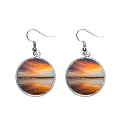 Sunrise Ocean Sky Cloud Reflection Ear Dangle Silver Drop Earring Jewelry Woman