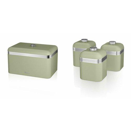 (Green) 4pc Swan Retro Kitchen Storage Set