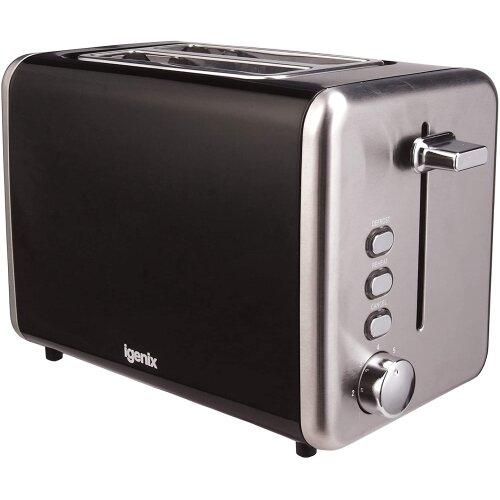 Igenix IG3000B Two Slice Toaster, Deep Slots with Adjustable Browning Control, Black