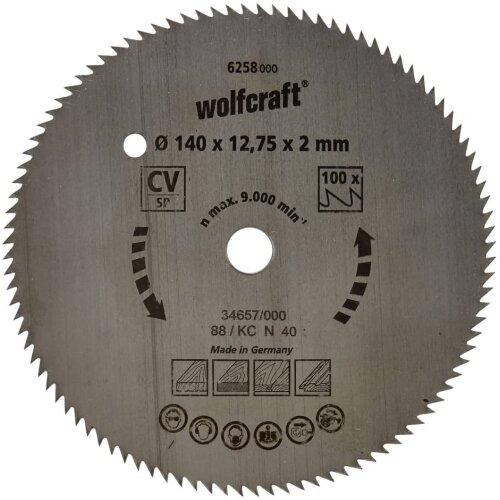 Wolfcraft 6258000 140 x 12.75 x 2mm CV Circular Saw Blade with 100 Teeth - Blue Series
