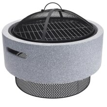 idooka Round Fire Bowl Pit with American Style Charcoal BBQ for Outdoor Garden and Patio - MGO Stone Effect and Chrome Mesh Grill