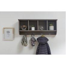 Kempton Grey Shoe Cabinet & Matching Wall Rack with Hooks