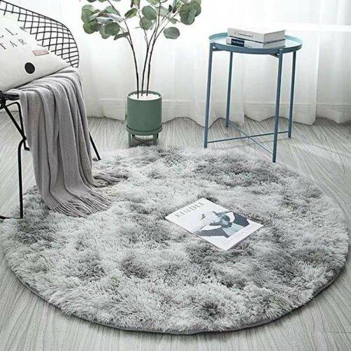 (Light Grey, 120*120CM) Large Circle Round Rug Circular Carpet Soft Fur Fluffy Sheepskin Floor Home Mat!