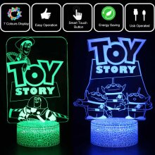 Toy Story 3D LED Night Light 7 Color Touch USB Table Lamp