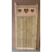 Wooden Garden Gate, Heart Cut Out - 6ft H - UP TO 8 WEEK WAIT