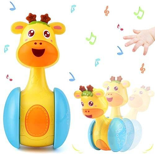 ICEBLUEOR Cartoon Giraffe Tumbler Doll Roly-Poly Baby Toys Cute Rattles Ring Bell Newborns 3-12 Month Early Educational Toy for Baby Boys and Girls