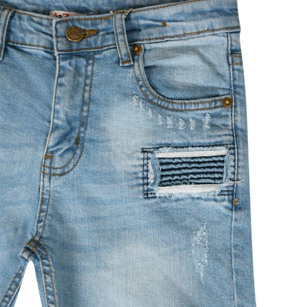 Kids Boys Shorts Denim Light Blue Ripped Chino Bermuda Jeans Short Knee Length