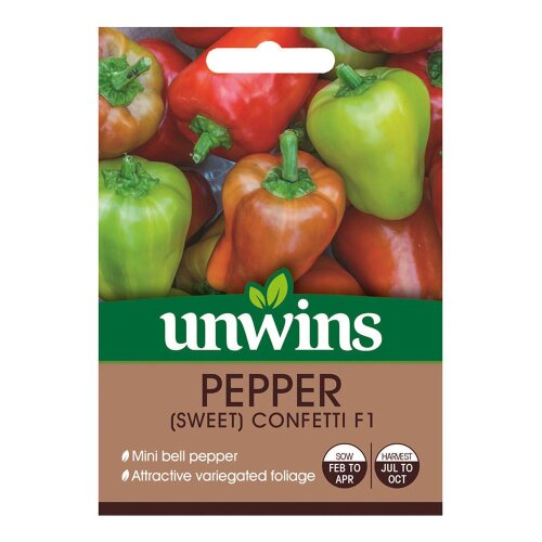 Unwins Grow Your Own Sweet Confetti F1 Pepper Vegetable Seeds
