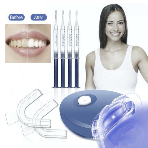 Teeth Whitening Kit - Dental Whitener Gel Kit + LED Accelerator Light