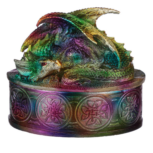 Metallic Rainbow Dragon Trinket Box