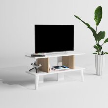 P&W Modern Wooden TV Stand Entertainment Unit with storage shelves